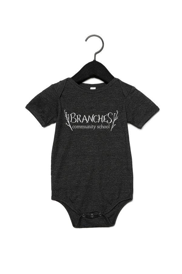 Grey baby's onesie with Branches logo across the chest area.
