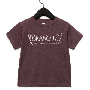 Maroon toddler t-shirt with Branches logo across chest area.