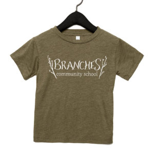 Olive toddler t-shirt with Branches logo across chest area.